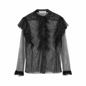 Philosophy Di Lorenzo Serafini Black Glittered Tulle Blouse