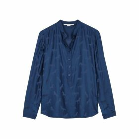 Stella McCartney Blue Horse-jacquard Satin Shirt