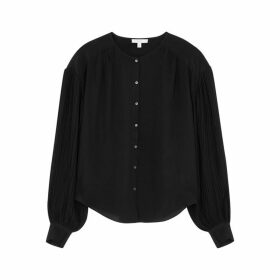 JOIE Kevia Black Silk Crepe De Chine Blouse