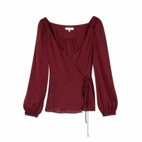 MILLY Hallie Burgundy Stretch-silk Wrap Blouse