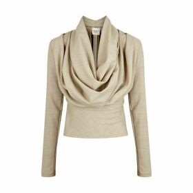 A.W.A.K.E MODE Rollercoaster Draped Sand Wool Top