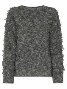 XU ZHI fringed crew neck jumper - Grey