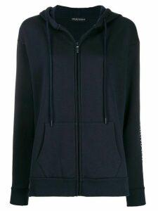 Emporio Armani logo print zip-up hoodie - Blue