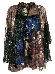 Biyan patchwork devoré top - Black