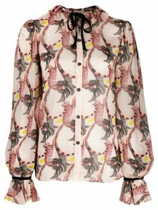 Temperley London Maggie feather-print shirt - PINK