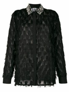 be blumarine Crystal-embellished fringed shirt - Black