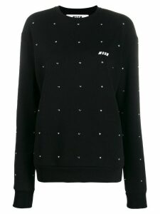 MSGM embellished crew neck sweatshirt - Black