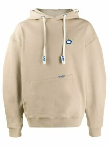 Ader Error embroidered logo hoodie - NEUTRALS