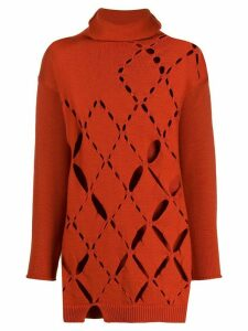 Pierantoniogaspari cut-out knitted jumper - ORANGE