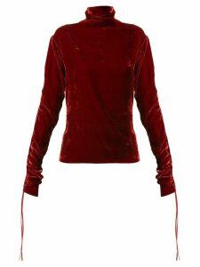 Andrea Ya'aqov ruched sleeve turtleneck jumper - Red