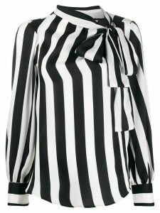 MSGM pussy bow striped blouse - Black