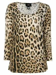 Cavalli Class scoop neck leopard T-shirt - Brown