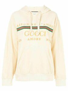 Gucci velvet Maison De L'Amour hoodie - NEUTRALS