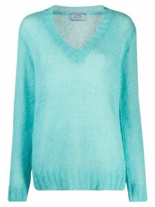 Prada V-neck ribbed knit pullover - Blue