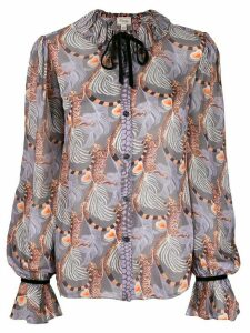 Temperley London Maggie feather-print shirt - PURPLE