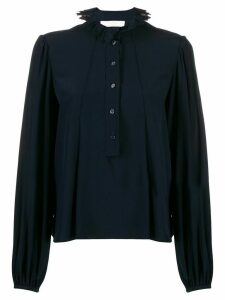 Chloé ruffled neck silk blouse - Blue
