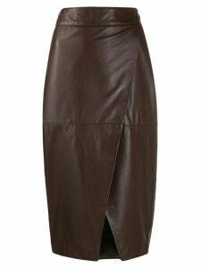 L'Autre Chose wrapped pencil skirt - Brown