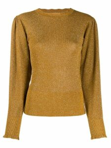 Isabel Marant ruched shoulders crew neck jumper - GOLD