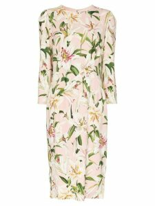 Dolce & Gabbana Cady lily-print midi dress - PINK