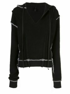 Unravel Project contrast stitch hoodie - Black