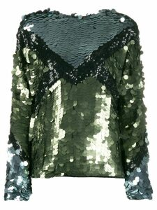 Tela Explosion sequin-embroidered top - Green