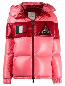Moncler logo patch puffer jacket - PINK