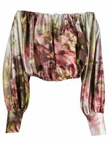 L'Autre Chose abstract-print balloon sleeve blouse - NEUTRALS