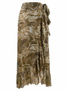 GANNI ruffled trim snakeskin print skirt - Brown