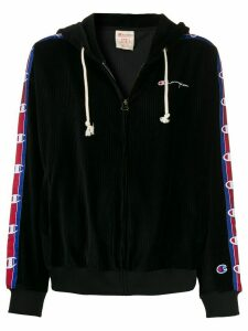 Champion corduroy logo-tape hoodie - Black