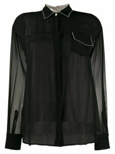 Barba sheer silk shirt - Black
