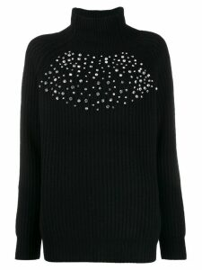 be blumarine crystal-embellished knit sweater - Black