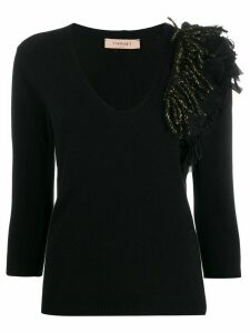 Twin-Set fringed-detail fitted sweater - Black