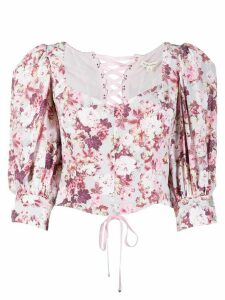 For Love And Lemons Houston floral-print cropped blouse - PINK