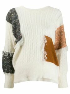 Maison Flaneur patchwork cable-knit jumper - White