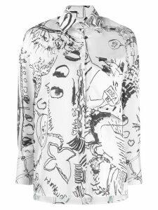 EDDA charcoal print shirt - White