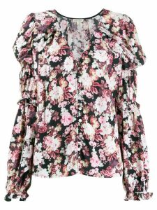 For Love And Lemons gathered sleeves floral blouse - PINK