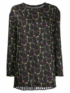 Junya Watanabe floral-print oversized blouse - Black