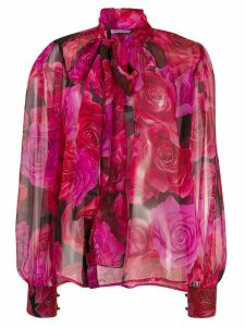 Blumarine floral print bow tie blouse - PINK