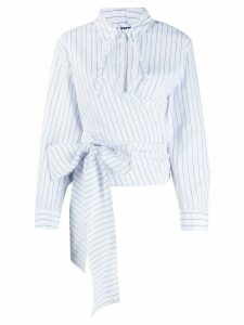 SJYP striped-print hooded shirt - White