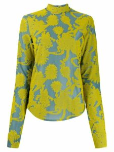 Jil Sander high-neck floral blouse - Blue