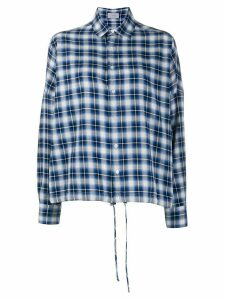 MRZ check-print oversized shirt - Blue
