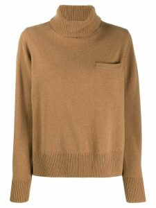 Sacai roll neck jumper - Brown