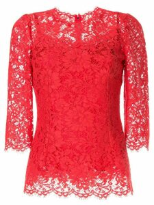 Dolce & Gabbana lace pattern scalloped blouse - Red