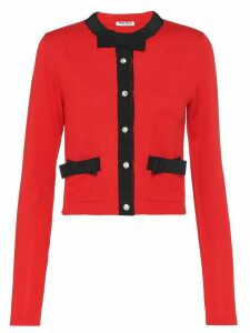 Miu Miu bow detailed cardigan - Red