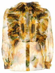 Dolce & Gabbana sheer sunflower print blouse - Yellow