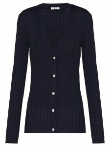 Miu Miu crystal embellished V-neck cardigan - Blue