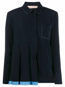 Marni pleated asymmetric shirt - Blue