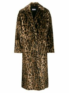 RedValentino RED(V) leopard print open front coat - Brown