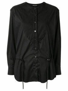 Emporio Armani drawstring poplin blouse - Black