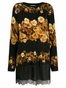 Twin-Set flower-print knit top - Black